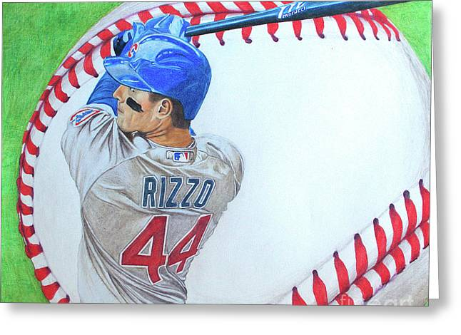 Greeting Card featuring the drawing Anthony Rizzo 2016 by Melissa Goodrich