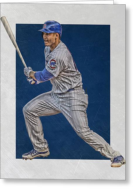 Anthony Rizzo Chicago Cubs Art 2 Greeting Card by Joe Hamilton