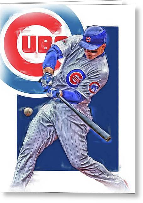 Anthony Rizzo Chicago Cubs Oil Art Greeting Card by Joe Hamilton