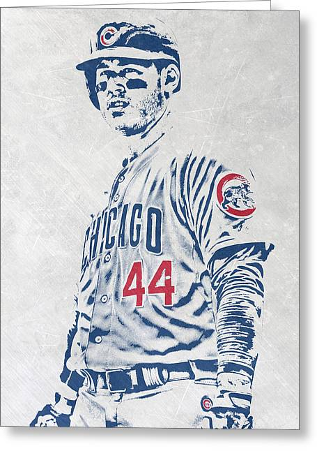 Anthony Rizzo Chicago Cubs Pixel Art Greeting Card by Joe Hamilton