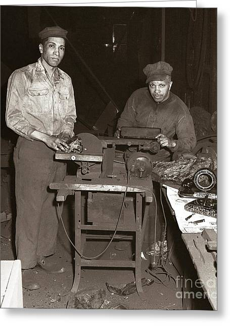 Anthracite Coal Artist  Charles Edgar Patience On Right  1906-1972 In Studio 1953    Greeting Card