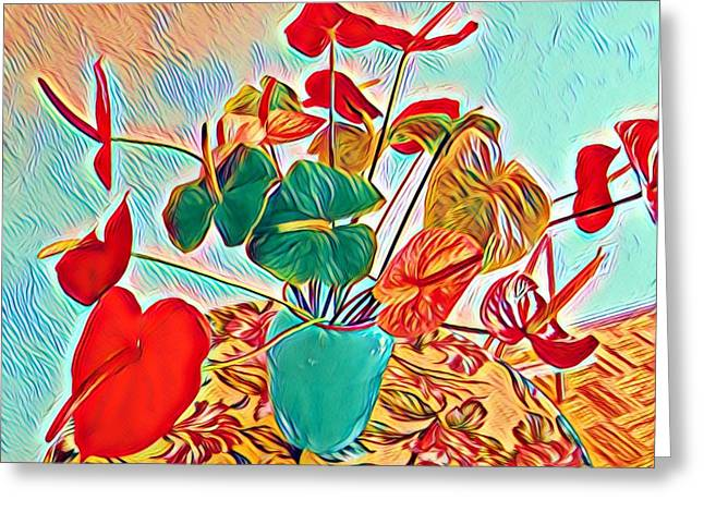 Anthurium Bouquet Of The Day - Multiple Color Greeting Card