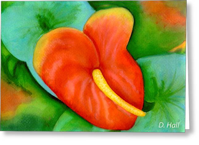 Anthurium Flowers #228 Greeting Card by Donald k Hall
