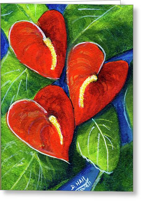 Anthurium Flowers #272 Greeting Card by Donald k Hall