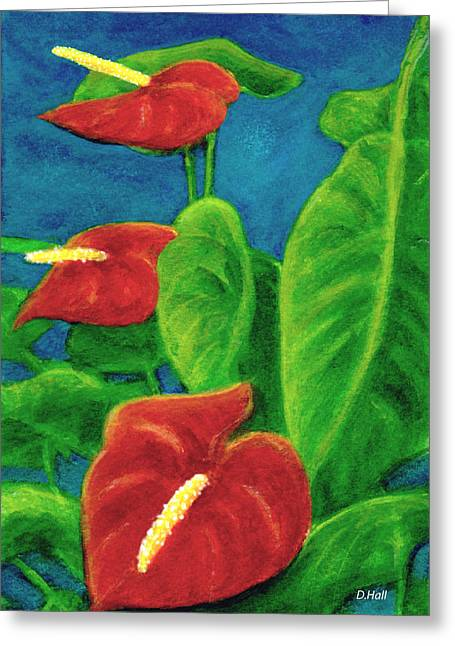 Anthurium Flowers #296 Greeting Card by Donald k Hall