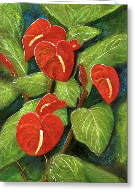 Anthurium Flowers #231 Greeting Card by Donald k Hall