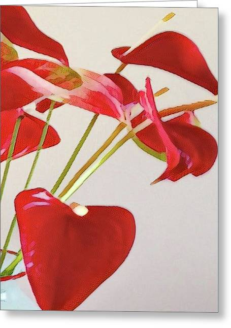 Anthurium Fragments In Red Greeting Card
