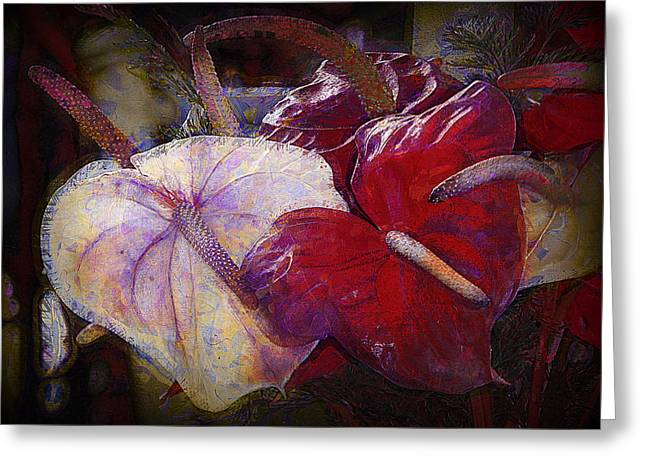 Greeting Card featuring the photograph Anthuriums For My Valentine by Lori Seaman