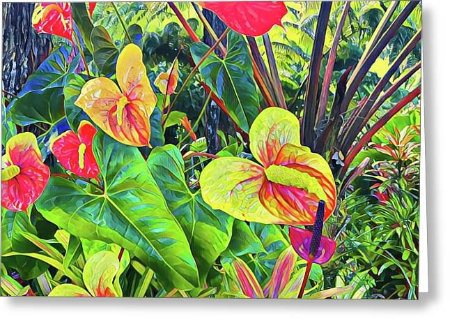 Anthuriums Yellow And Red Greeting Card