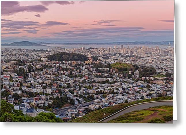 Anti-crepuscule Panorama Of San Francisco From Twin Peaks Scenic Overlook - California Greeting Card