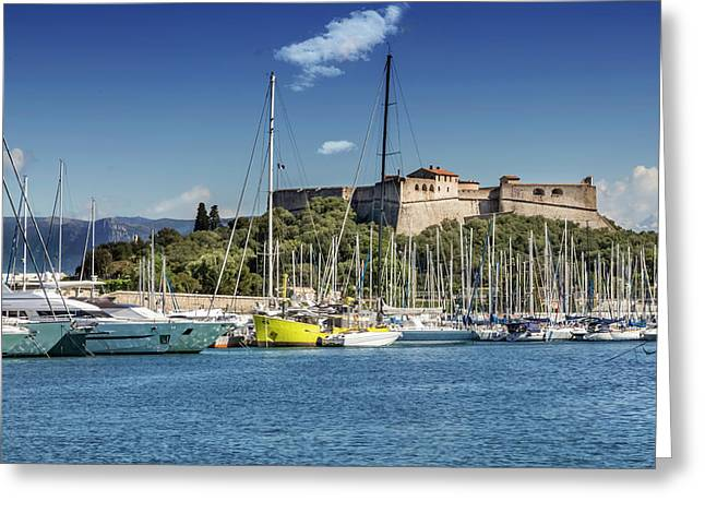 Antibes Fort Carre And Port Vauban  Greeting Card by Melanie Viola