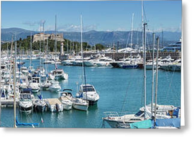 Antibes Fort Carre And Port Vauban - Panoramic Greeting Card by Melanie Viola
