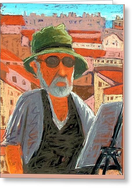 Greeting Card featuring the painting Antibes Self by Gary Coleman