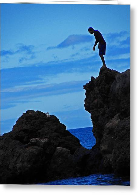 Rocky Coastline Greeting Cards - Anticipating Diving In Greeting Card by Elizabeth Hoskinson