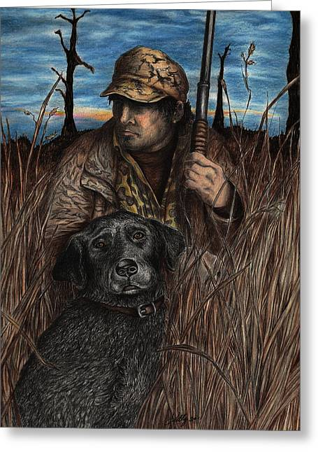 Hunting Drawings Greeting Cards - Anticipation Greeting Card by Kathleen Kelly Thompson