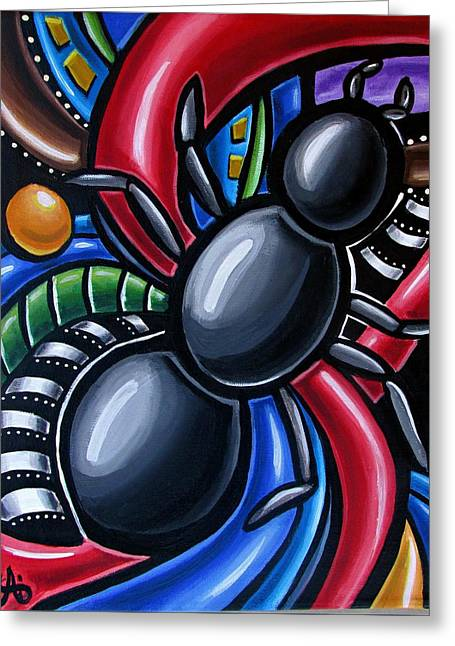 Ant Art Painting Colorful Abstract Artwork - Chromatic Acrylic Painting Greeting Card