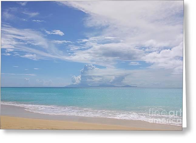Antigua Beach View Of Montserrat Volcano Greeting Card