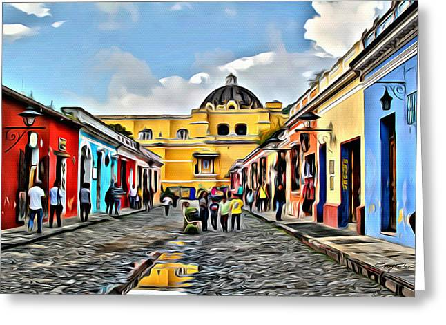 Antigua Street Greeting Card by Anthony C Chen
