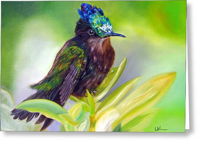 Antillean Crested Hummingbird Greeting Card by LaVonne Hand