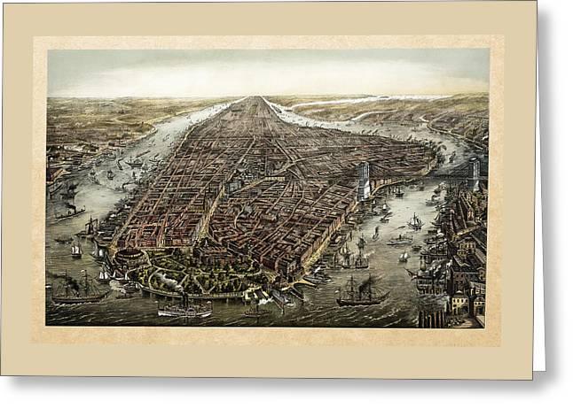 Antique 1873 Map Of Manhattan Greeting Card by Serge Averbukh