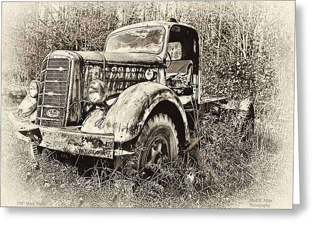 Antique 1947 Mack Truck Greeting Card by Mark Allen
