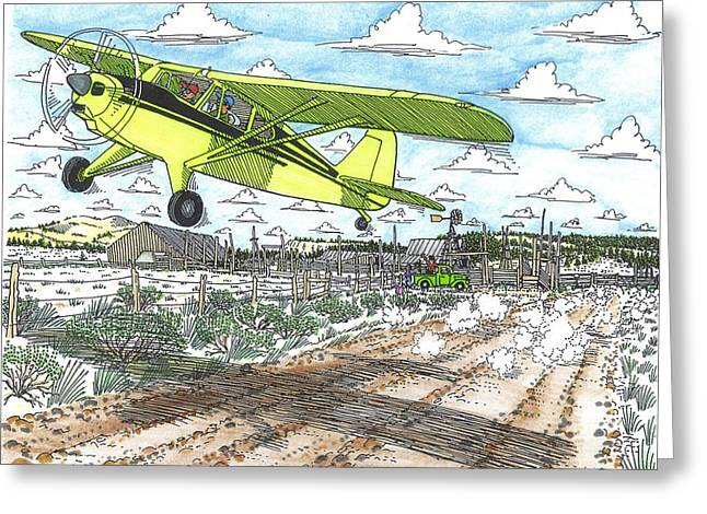 Antique Airplane Taking Flight Greeting Card by Bill Friday