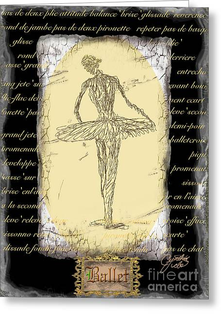 Antique Ballet Greeting Card by Cynthia Sorensen