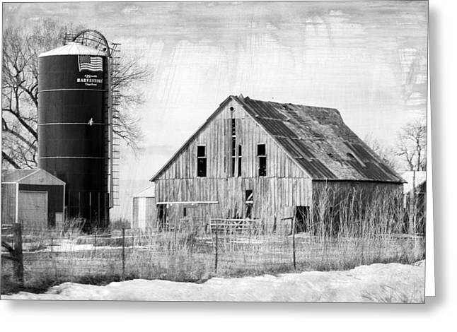 Antique Barn And Silo Greeting Card by Kathy M Krause