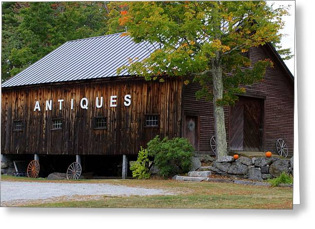 Antique Barn In Fall Greeting Card by Lois Lepisto