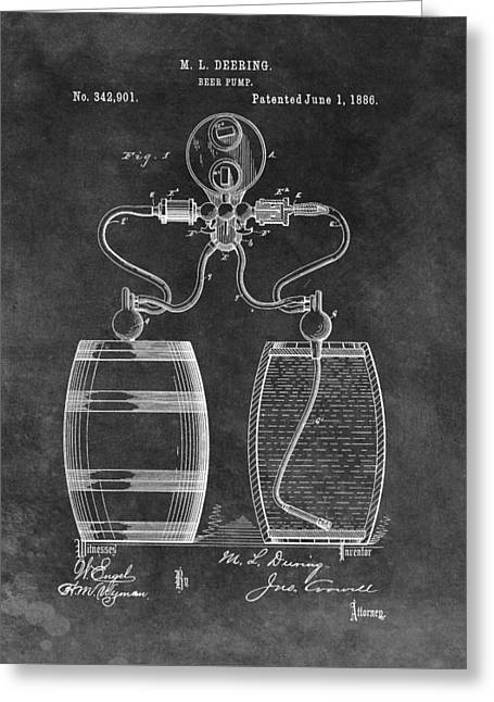 Antique Beer Pump Patent Greeting Card by Dan Sproul