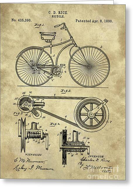 Antique Bicycle Blueprint Patent Drawing Plan, Industrial Farmhouse Greeting Card by Tina Lavoie