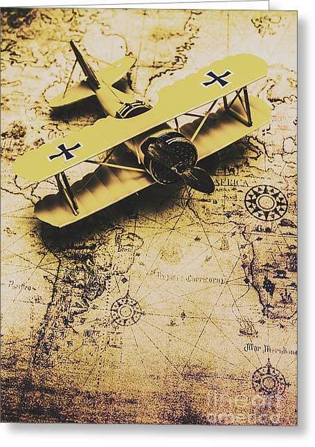 Antique Biplane On Old Map Greeting Card by Jorgo Photography - Wall Art Gallery