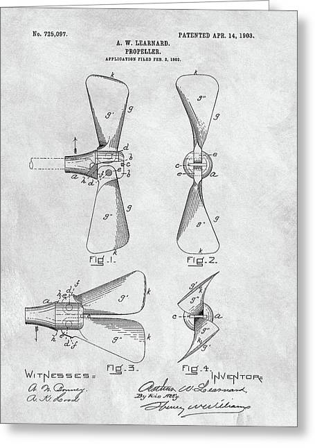 Antique Boat Propeller Patent Greeting Card by Dan Sproul