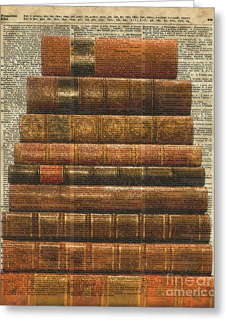 Antique Book Stock Digital Collage Dictionary Art Greeting Card by Jacob Kuch