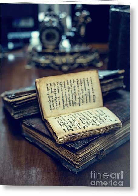 Antique Books With Old Cyrillic Text Lying On A Table In A Dark Library Room Greeting Card