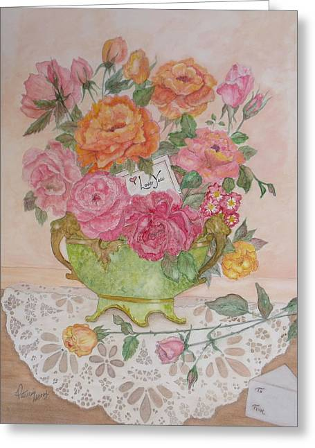 Antique Bowl With Roses Greeting Card