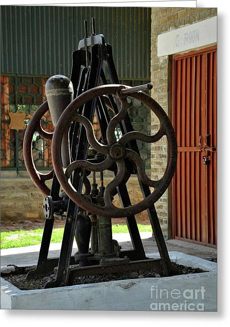 Antique British Hand Turned Pump At Pakistan Railway Museum Golra Sharif Islamabad Greeting Card by Imran Ahmed