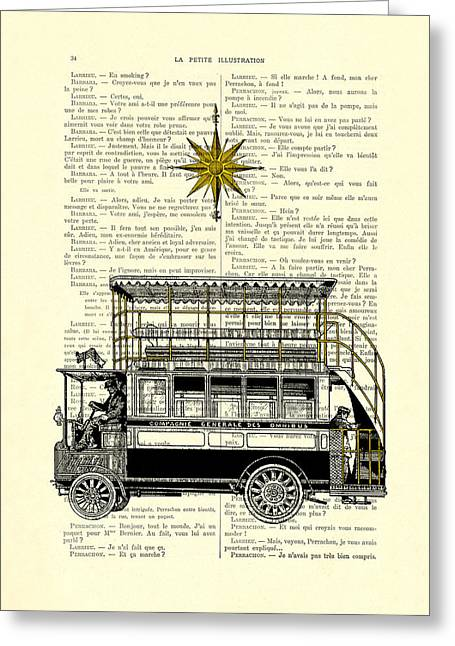 Double-decker Bus Vintage Illustration Dictioanry Art Greeting Card by Madame Memento
