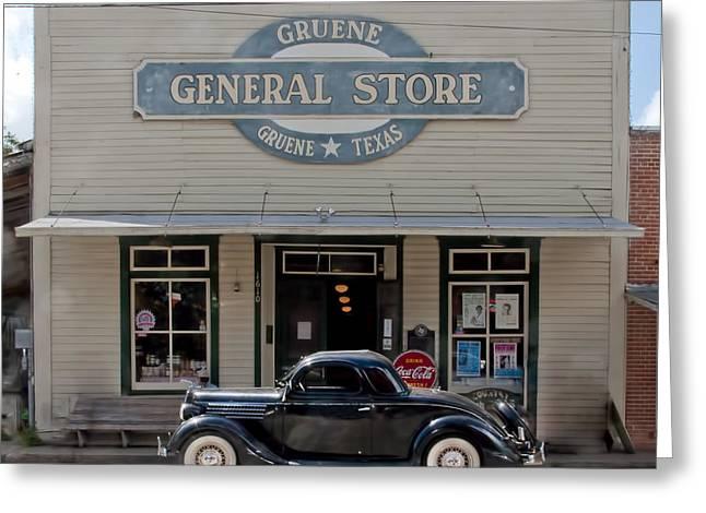 Antique Car At Gruene General Store Greeting Card