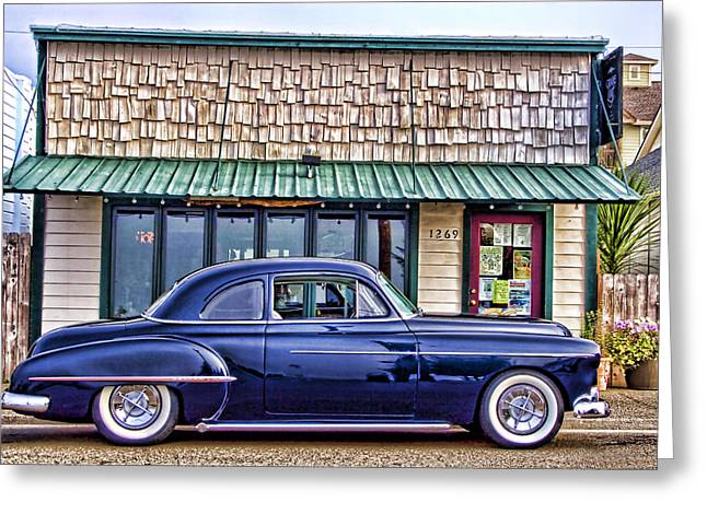 Antique Car - Blue Greeting Card by Carol Leigh
