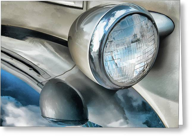 Antique Car Headlight And Reflections Greeting Card