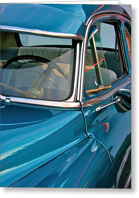 Antique Car With Neon Reflections Greeting Card