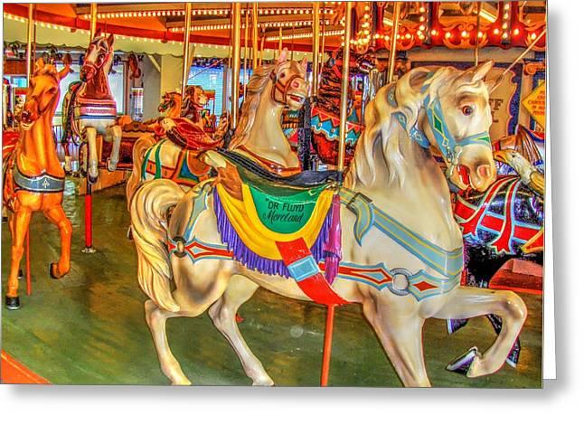 Antique Carousel, Seaside Heights Boardwalk Greeting Card by Bob Cuthbert