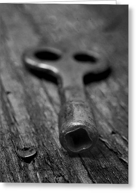 Antique Clamp On Skate Key Greeting Card