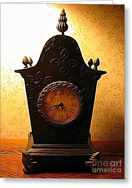 Antique Clock Expressionist Effect Greeting Card