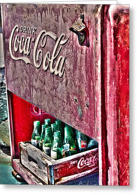 Antique Coca Cola Coke Refrigerator Greeting Card by Robin Lewis