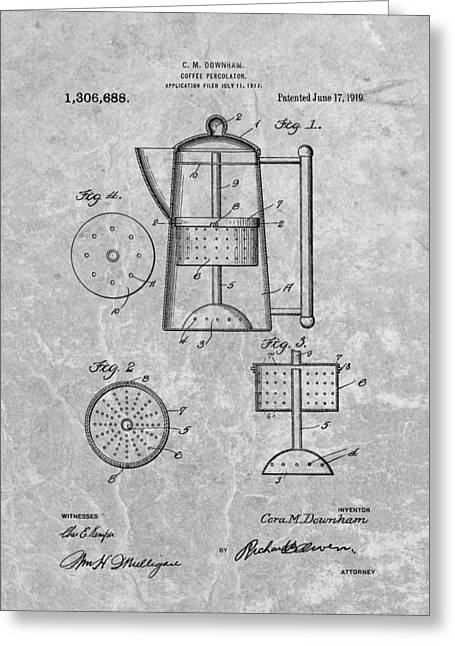 Antique Coffee Percolator Patent Greeting Card by Dan Sproul