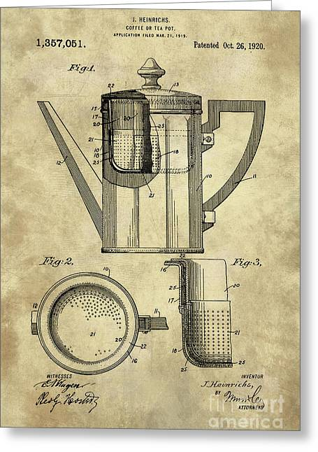 Antique Coffee Pot Blueprint Patent Illustration, Industrial Farmhouse Kitchen Art Greeting Card by Tina Lavoie