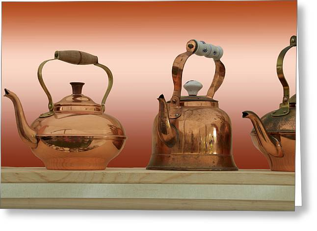 Antique Copper Kettles Greeting Card by Thomas Woolworth