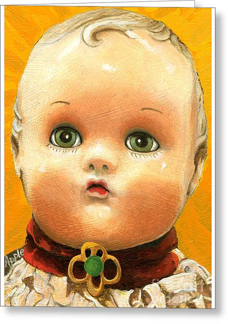 Antique Doll Oil Painting Greeting Card by Linda Apple